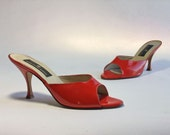 Vintage 1960s Shoes // The Tamale Hot Red Saks Fifth Avenue Mule Heels Size 8.5 M