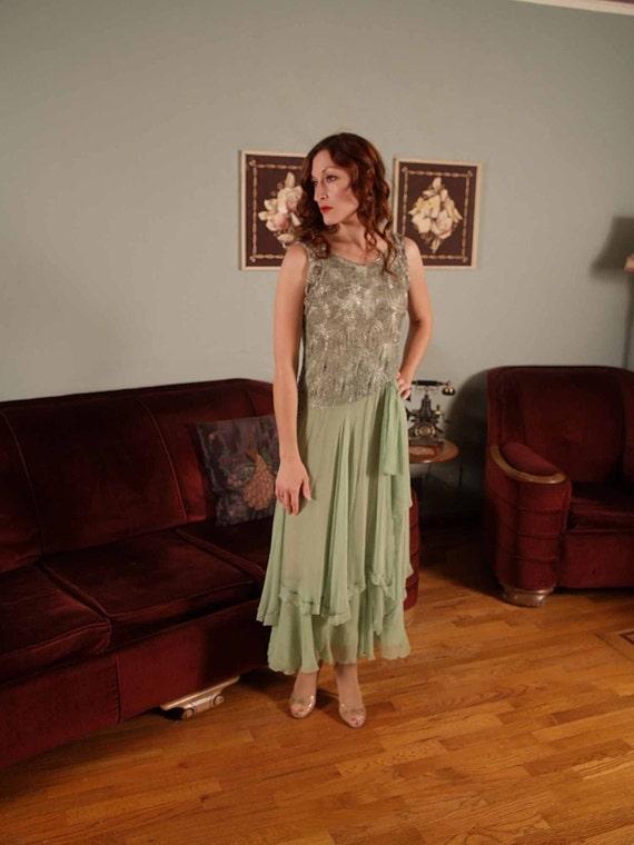 RESERVED ON LAYAWAY Vintage 1920s Absinthe Elegant Heavily Beaded Deco Chiffon Flapper Dress