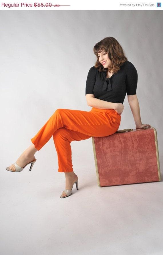 48-Hour Sale - Vintage 1950s Pants // The Four Alarm Bright Orange Denim Cigarette Pants