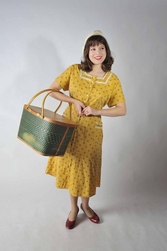 Vintage 1950s Dress // The Dandelion Cotton Day Dress XL XXL