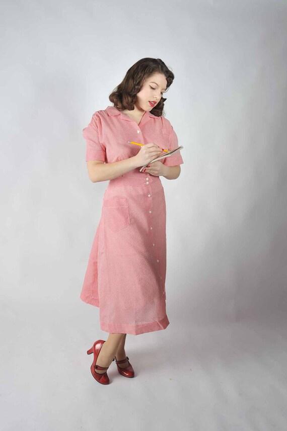 Vintage 1940s Dress //  Red and White Gingham Seersucker Spring Day Dress XL XXL