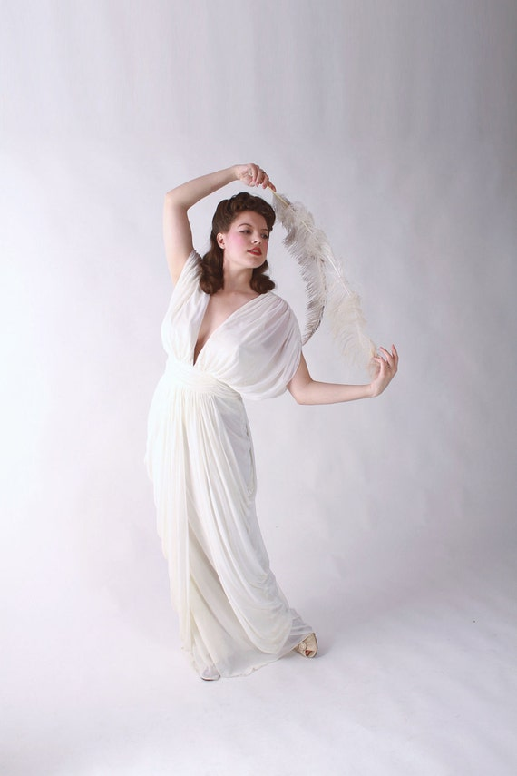 Vintage Goddess Dress // Incredible 1980s does 40s Draped Jersey Grecian Wedding Evening Gown