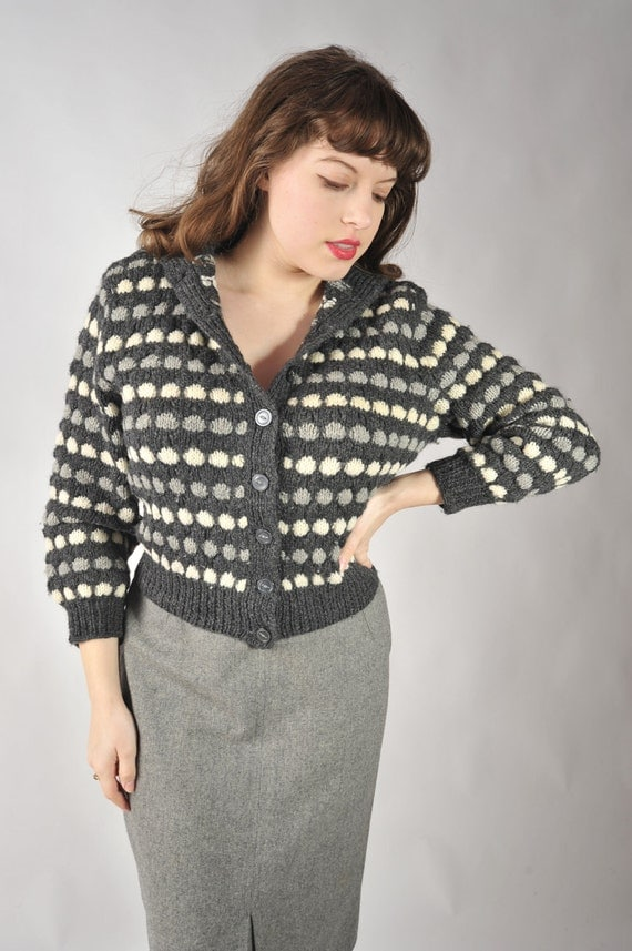 Vintage 1950s Sweater // Gray and Cream Knit Bulky Sweater