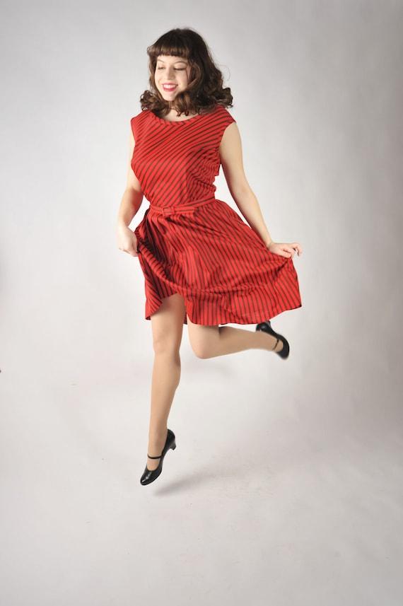 Vintage 1950s Dress // Red Striped Nylon Jersey Day Dress L XL