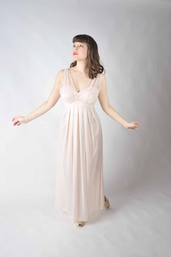 Vintage 1960s Nightgown // Pink Nylon and Chiffon Full Length Goddess Nightgown by Vanity Fair 36