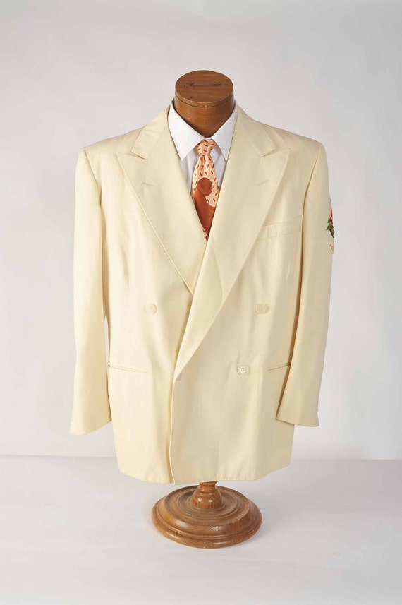 Vintage 1940s Sportcoat // White Double Breasted Peaked Lapel Summer Jacket with Royal Rosarian Patch 44 45