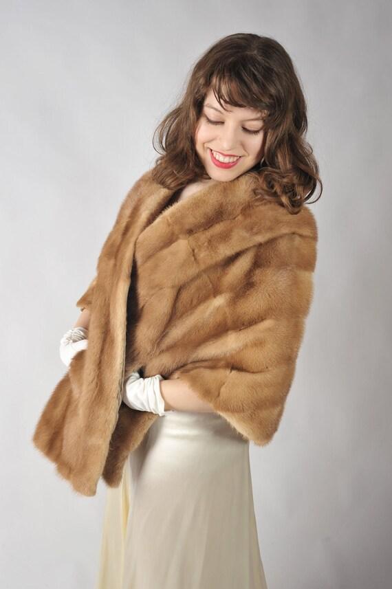 Vintage 1950s Fur // Decadent Autumn Haze Mink Stole Wedding Wrap