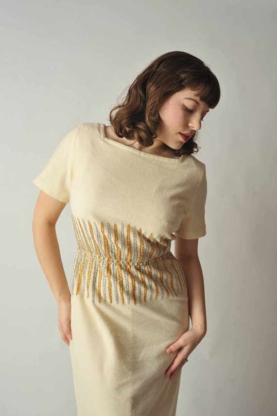 Vintage 1950s Dress // Ivory Wool Cocktail Dress with Silver and Gold
