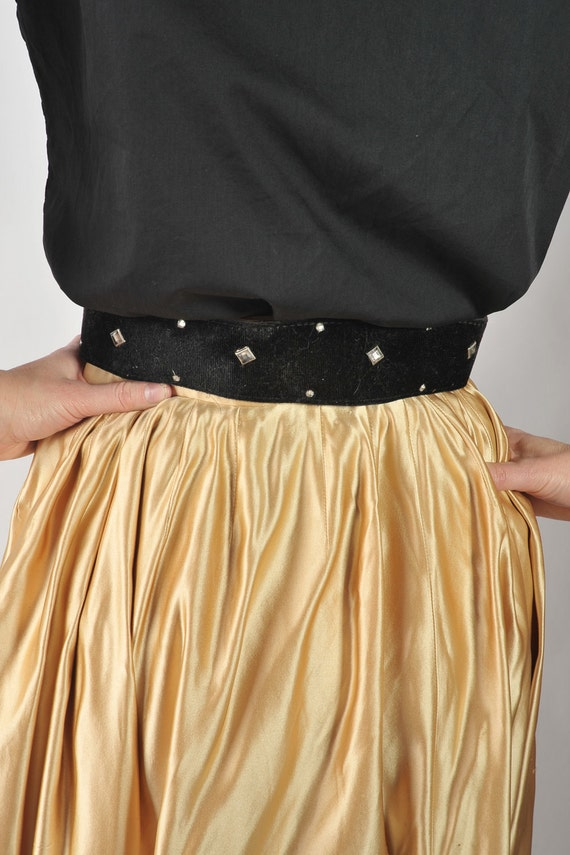 Vintage 1950s Belt // Black Velvet Rhinestone Studded Rockabilly Belt