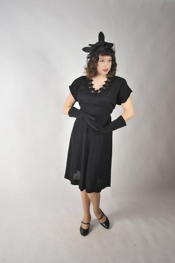 Vintage 1930s Dress // Black Rayon Crepe Noir Swing Dress with Striking Necklne