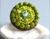 Glass Seed Bead, Copper Brass - Ring - 'Lemon and Lime'