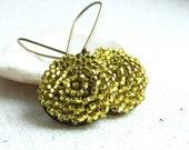 Brass, Glass Seed Bead - Earrings - 'Sunny Blooms'