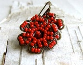Glass Beaded, Brass Flower - Earrings - 'Floret in Cherry'