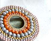 Grey, Coral, Peach Beadwoven Glass - Brooch Pin - 'Burst'