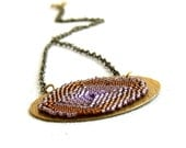 Purple Brown Beadwork Pendant Necklace Seed Beaded Geode Slice Fashion Jewellery