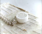 Druzy Necklace - Sterling Silver, White Agate Quartz Druzy - Necklace - 'Round Sugar' Gemstone Necklace