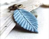 Sky Blue Patina Copper Leaf - Keychain / Key Fob - Handmade Fashion