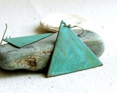 Verdigris Patinaed Brass Triangle, Sterling Silver - Patina Earrings -Triangles in Teal - Handmade Fashion