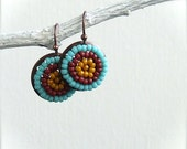 Glass Seed Bead, Antiqued Copper - Beadwoven Earrings - 'Mustard, Cranberry, Teal Pods'