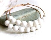 White Quartz Crystal, Copper - Hoop Earrings - Snowballs - Handmade Fashion