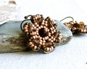 RESERVED for Lisa - Glass Seed Bead, Brass Flower - Earrings -Petalage in Brown and Salmon
