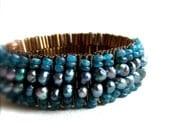 Teal Beadwork Bracelet Blue Apatite Pearl Brown Beadwoven Statement Lagoon Beaded Beach Fashion Jewellery