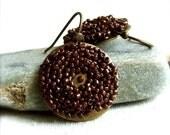 Brown Japanese Glass Seed Bead, Brass -Beadwoven Earrings -Auburn Pods -Jewellery