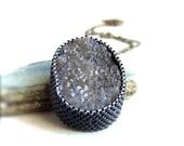 Smoky Quartz Druzy Necklace - Brass - Gemstone Necklace - Winter Fashion