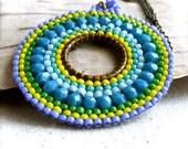 Teal Turquoise Beadwork Pendant Necklace Beadwoven Beaded Round Medallion Handmade Fashion Jewellery