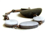 Grey Pearl, Black Patina Copper, Brass - Patina Bracelet - Undone - Handmade Fashion - Summer Trends