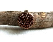 Brown Glass Seed Bead Woven Copper - Beadwoven Ring -Copper Pod -Jewellery