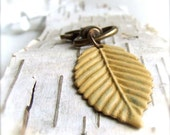 Pastel Yellow Patina Leaf Keychain Copper Key Fob