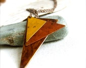 Saffron, Brown, Rust Patinaed Brass Triangle - Necklace -Geometric - Under 50 -Fall Fashion- Black Friday