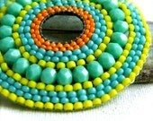 Bright Green Beadwork Circle Pin Beaded Brooch Vibrant Teal Beadwoven Neon Glow Fashion Jewelry