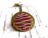 Red Lavender Embroidered Pendant Necklace Thread Woven Oval Laced Corset Interlaced Fashion Jewellery