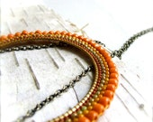 Orange Beadwork Bib Statement Necklace Rust Seed Beaded Woven Bohemian Curve Arch Handmade Fashion Jewellery