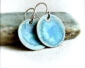 Patina Earrings - Teal Blue Patinaed Brass Disks, Sterling Silver - Earrings -Light Pools - Fall Fashion -
