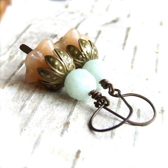 SALE - Amazonite, Czech Glass, Brass - Earrings - 'Mint Julep'