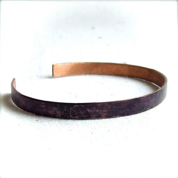 Dark Purple Wrap Cuff Bracelet Eggplant Patina Thin Skinny Hammered Copper Handmade Fashion Jewelry