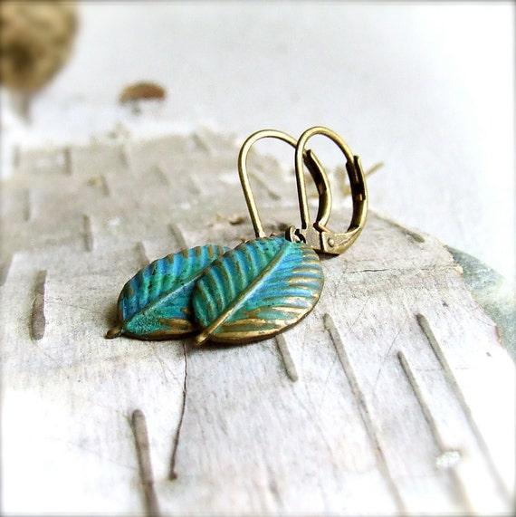 Blue, Verdigris Patinaed Brass Leaf - Earrings - Simple Does - Handmade Fashion
