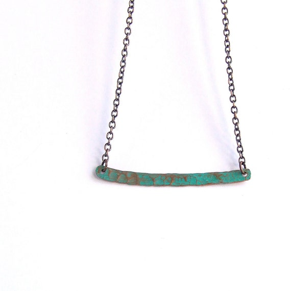 Turquoise Verdigris Patinaed Copper Bar - Patina Necklace -Organic Minimalist - Handmade Fashion no.1