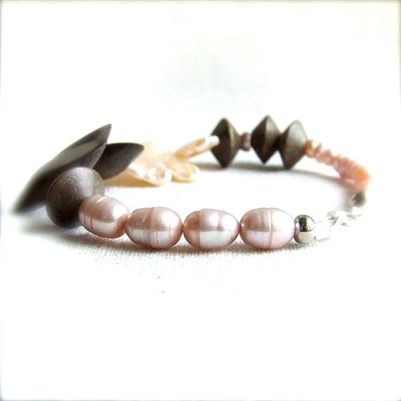 Pink Pearl, Grey Nangka Wood, Silver - Beaded Bracelet - Spring Fashion