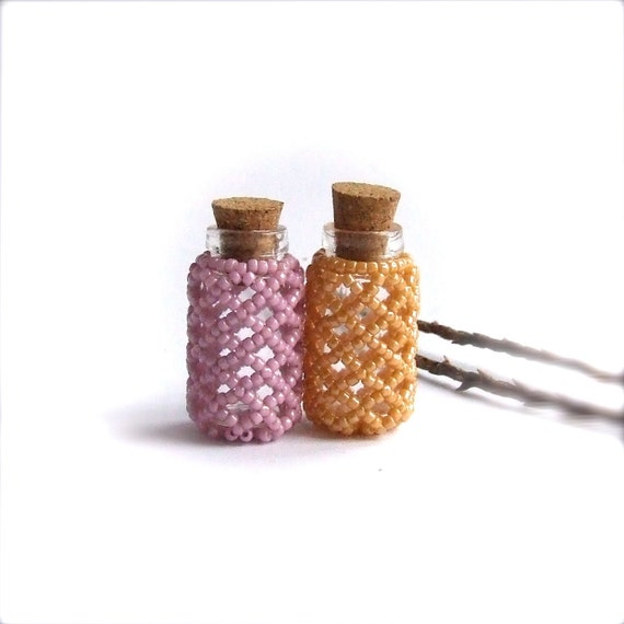 Mini Seed Beaded Bottle Set - Peach and Lavender - Handmade Home Decor