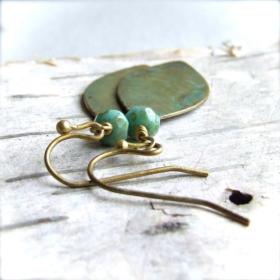 Verdigris Textured Brass Leaf, Turquoise Glass - Patina Earrings -Rustic Leaves -