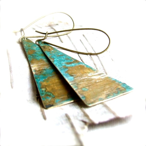 Verdigris Textured Brass Triangle Long Patina Earrings - Old is New - Handmade Fashion - Summer Trends