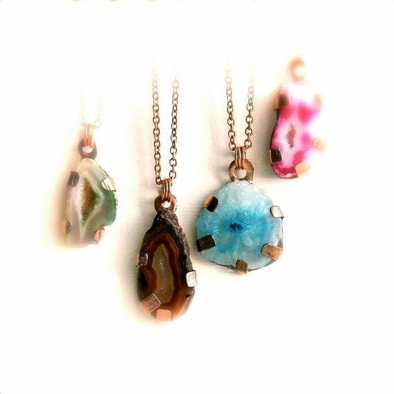 Blue Stalactite Pendant Necklace Solar Quartz Copper Gemstone Druzy Metalwork Bohemian Jewellery