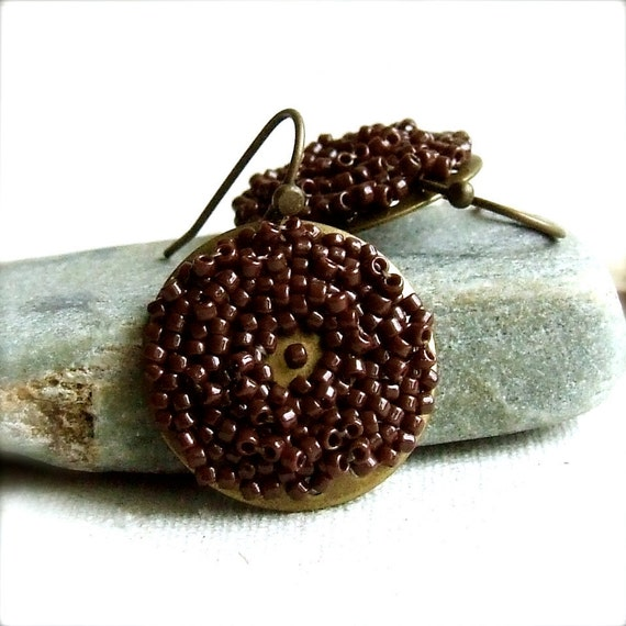 Brown Japanese Glass Seed Bead, Brass -Beadwoven Earrings -Auburn Pods -Jewellery