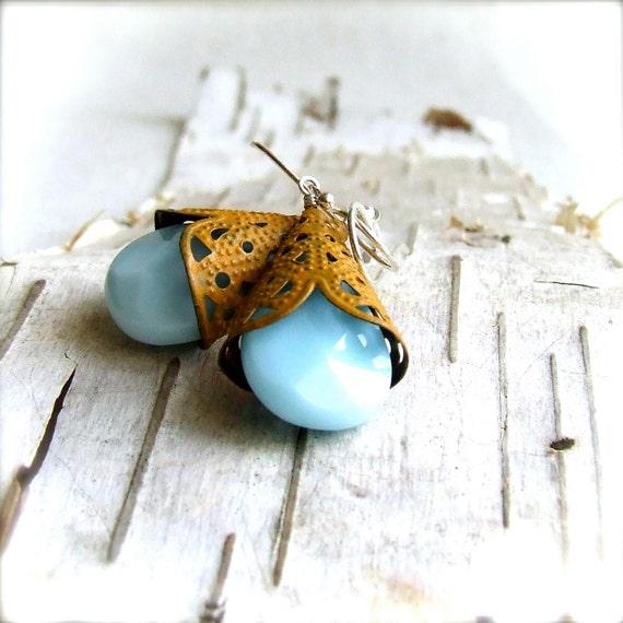 Aqua Blue Chalcedony, Mustard Patina - Gemstone Earrings -Hennin in Aqua -Jewellery