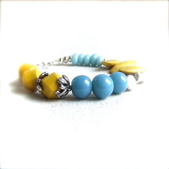 Aqua Indian Glass, Yellow Nangka Wood, Silver - Beaded Bracelet - Fall Fashion