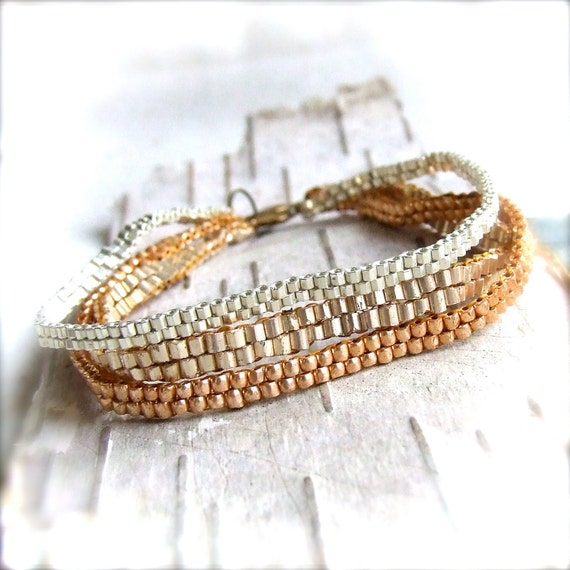 Metallic Beadwork Bracelet Gold Silver Brass Beadwoven Beaded Multi-Strand Three-Strand Fashion Jewellery